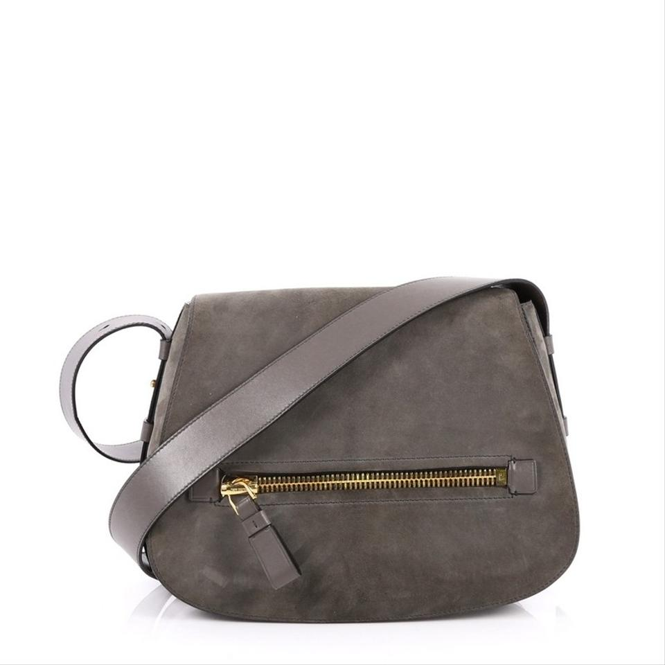 3f6e38059f Tom Ford Jennifer Soft Saddle Medium Grey Suede with Leather Cross ...
