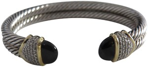 David Yurman Capri Black Onyx with Pave' Diamonds Double Cable Cuff, Medium