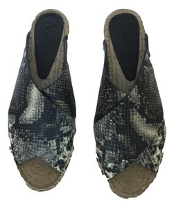 Vince Snake Pint Leather Espadrille grey and white Flats