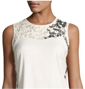 NIC+ZOE Linen Sequin Sleeveless Pearl Top ivory/multi