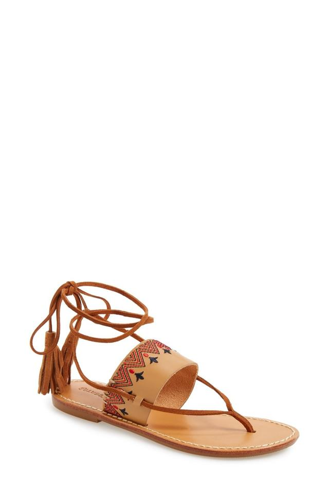 7f14ffcd0808 Soludos Tan Leather Embroidered Lace Up Flat Thong Toe Sandals Size ...