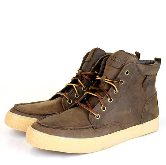 Polo Ralph Lauren Tan/Brown Tedd Leather High Top Sneaker Us 8.5 Shoes