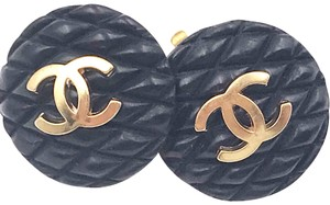 Chanel Chanel Rare Classic Black Quilted Gold CC Clip on Earrings