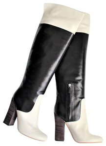 Derek Lam Color-blocking Leather Knee High Cream and black Boots