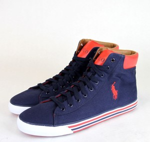 Polo Ralph Lauren Navy/Red W Navy/Red Harvey Canvas High Top Sneaker W/Logo Us 10 Shoes