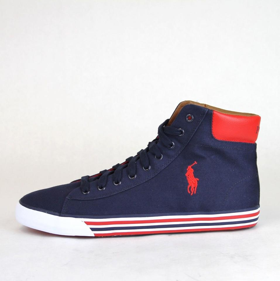 W Canvas Red Lauren 10 Polo Shoes Top Red Sneaker Navy Logo High Navy Harvey Ralph Us 1P0xgwqRx