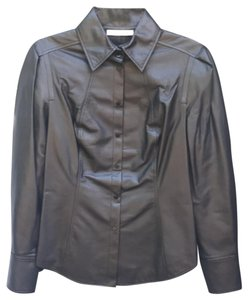 7f8ad0e17dd98 Jason Wu Black Lambskin Leather Button Up Button-down Top Size 10 (M) 66%  off retail