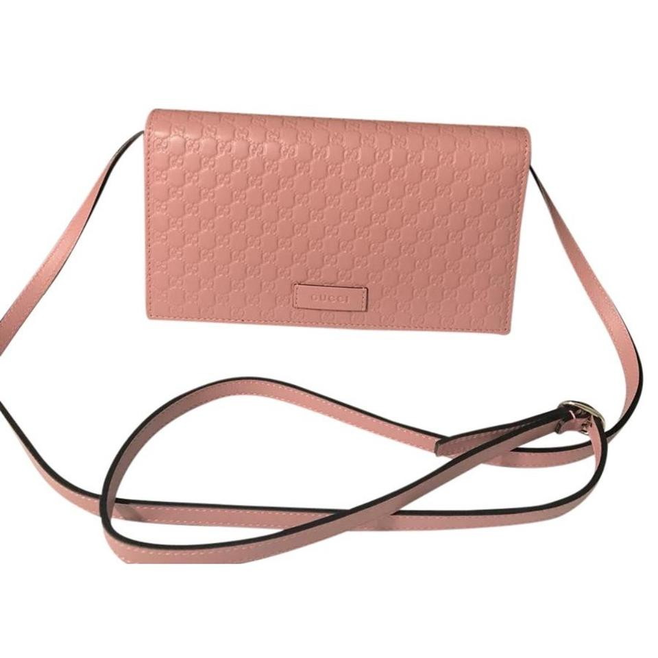e4d8b4376bb Gucci Gg Wallet On Strap Soft Pink Leather Cross Body Bag - Tradesy