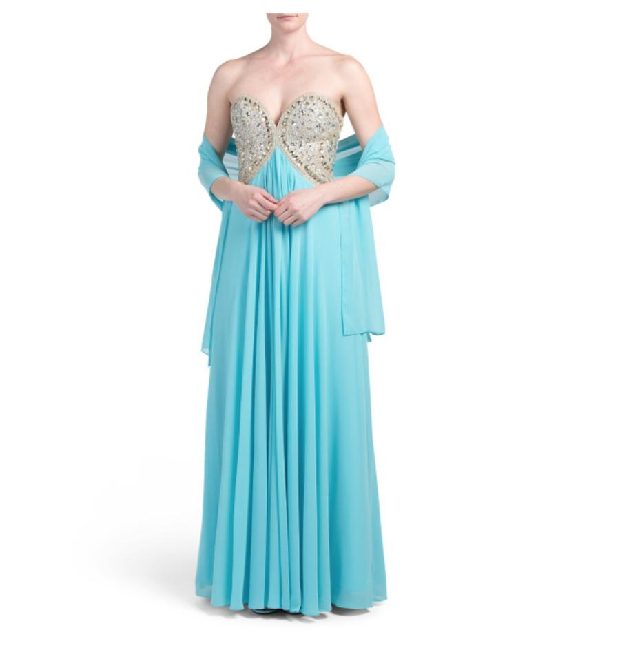 Terani Couture Teal Strapless Sweetheart Beaded Gown Formal Dress ...