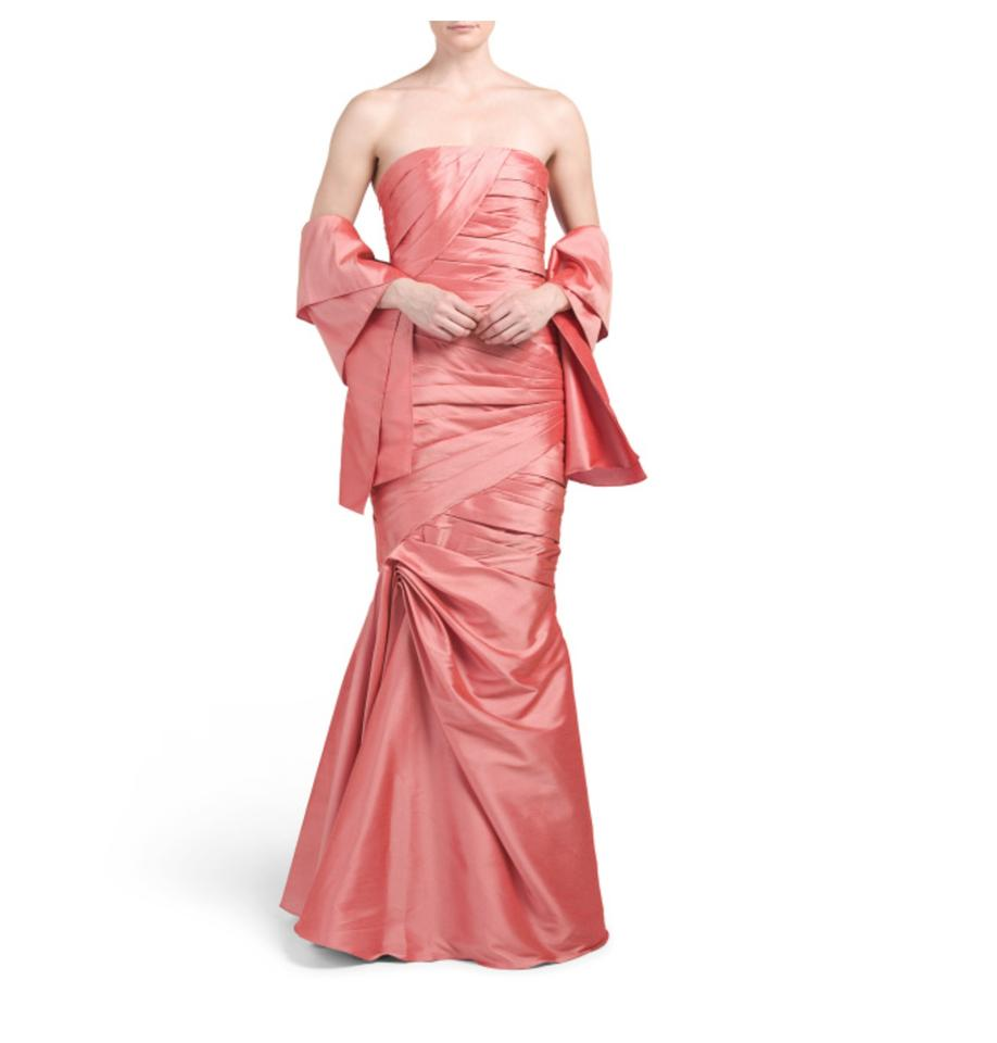 Monique Lhuillier Dusty Rose/Salmon Strapless Gown and Shawl Long ...