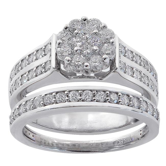 Item - White Gold 1.00 Ct Diamond Cluster Engagement Ring/Wedding 14k Wg Women's Wedding Band Set