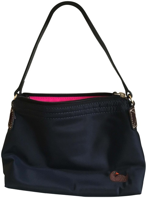 Item - W And Mini Signature W/ Free Mini Wallet Navy Blue with Pink Interior Nylon Shoulder Bag