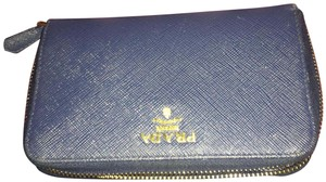 Prada Saffiano Triangle Wallet, Bluette