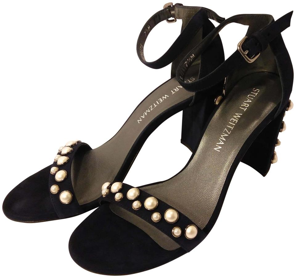 4b918fe2ad0 Stuart Weitzman Blue Suede Morepearls Ww39678 Sandals Size US 7.5 ...