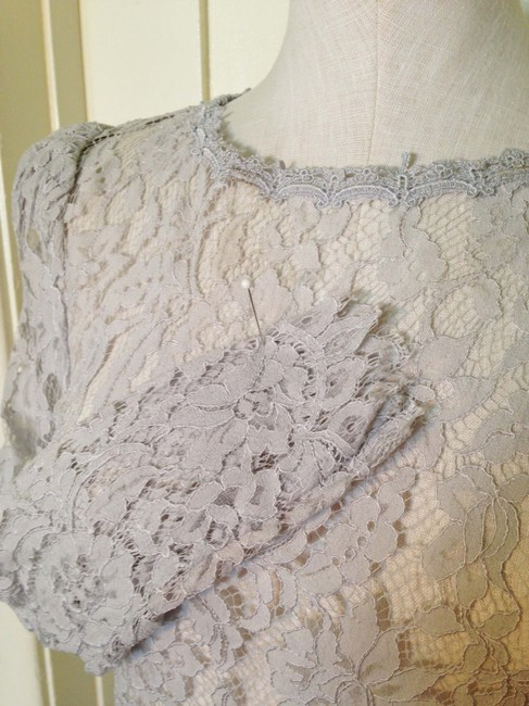 Jessica McClintock Vintage Floral Lace Fall Top Gray