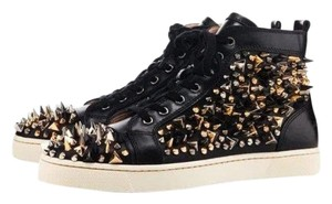 Christian Louboutin Studded Leather Mens Black Athletic