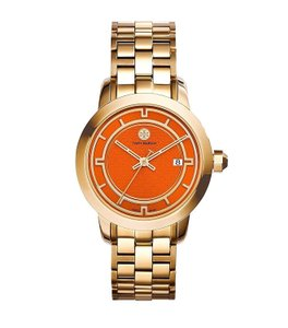 Tory Burch $600 NWT Gold Tone Orange Watch TRB1006
