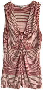 CAbi Stripe Sleeveless Stretch V-neck Small Top Red, White