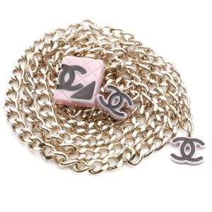 Chanel chanel gold-Tone & Pink cambon CC chain belt 35 inches
