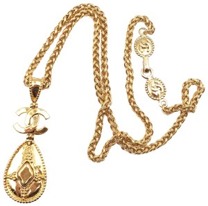 Chanel Chanel Vintage 24K Gold Plated Tear Drop Long Necklace