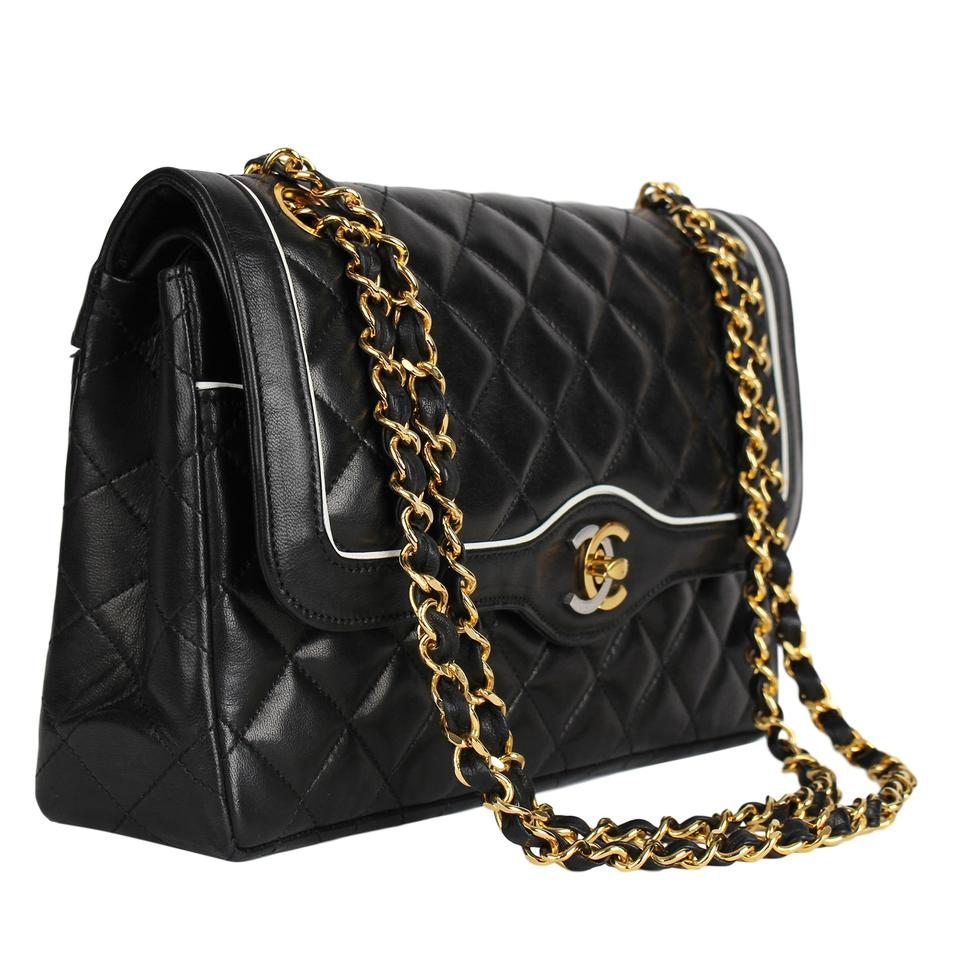 5ee26f14223a Chanel Classic Flap Paris Limited Edition Double 7289 Black Lambskin ...
