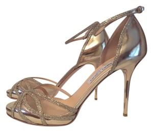 Jimmy Choo Metallic Open Toe Glitter Gold Sandals