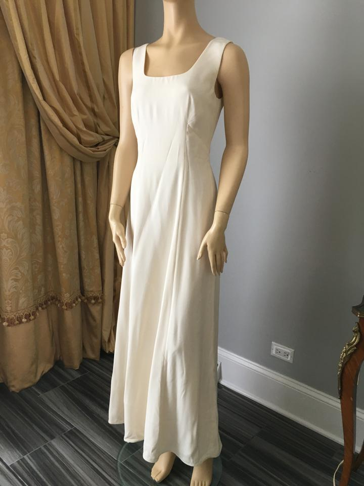Giorgio Armani Off White Silk Long Formal Wedding Dress Size 6 (S ...