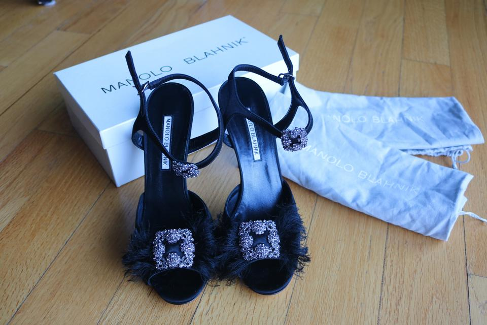 Manolo Hangisi Sandals Black Blahnik Jeweled UUwvPq