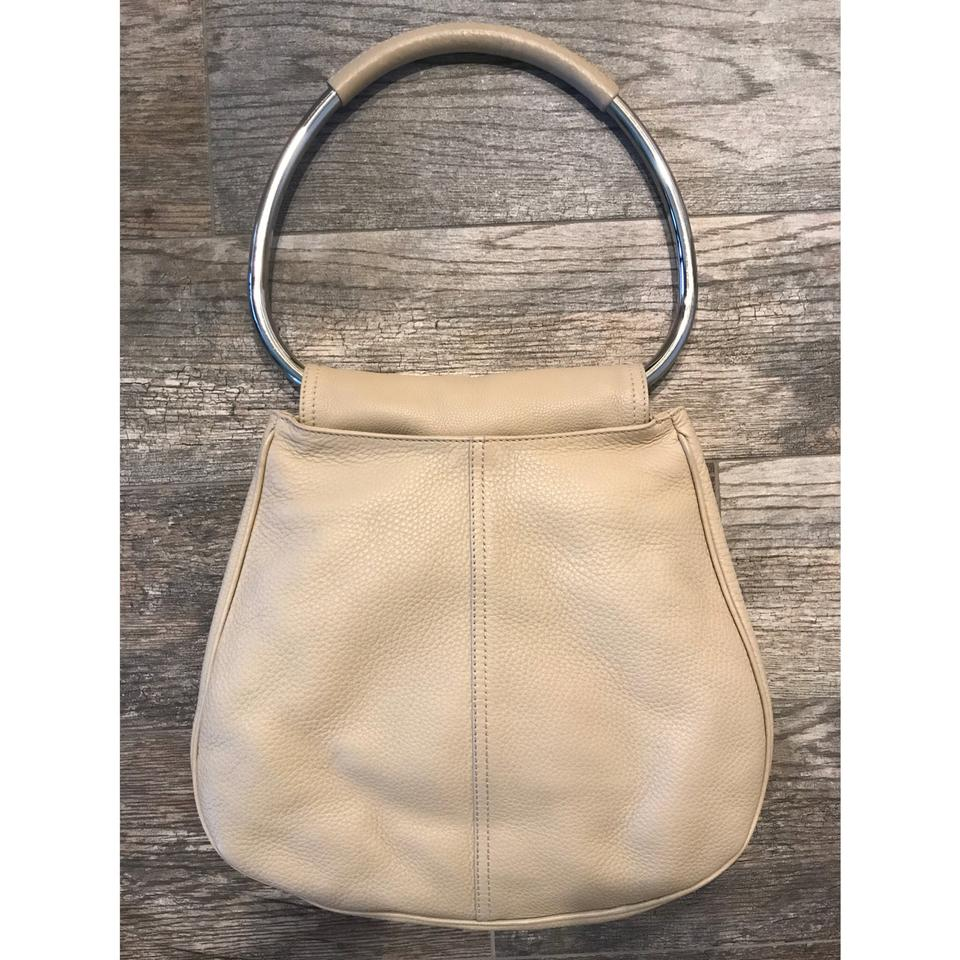 171383fbe6e2 Prada Rare Metal Ring Handle Cream Leather Shoulder Bag - Tradesy