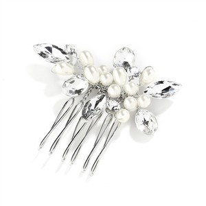 Mariell Silver Pearl Crystal and Comb Hair Accessory