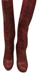 Charles David cherry leather with suede Boots
