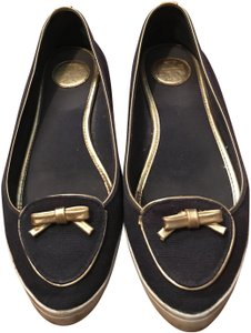 Tory Burch Navy blue & gold Flats