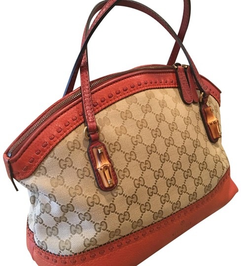 Preload https://img-static.tradesy.com/item/22518563/gucci-monogram-canvas-w-tan-and-burnt-orange-leather-trim-satchel-0-1-540-540.jpg