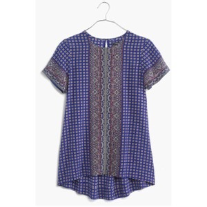 Madewell Print Silk Fall Night Out Spring Top BLUE/ RED/ GREY