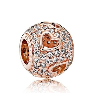 PANDORA NEW Pandora Rose Gold Plated Tumbling Hearts CZ Bead Charm #781426CZ