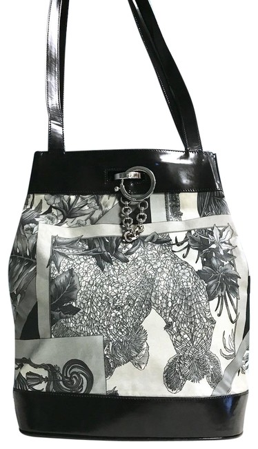 Item - Patent Floral Canvas Black and Grey Leather Tote