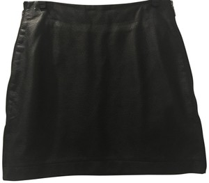 Romeo & Juliet Couture Leather Sexy Faux Leather Holiday Mini Skirt Black