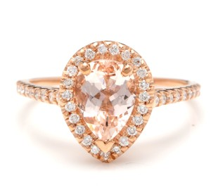 Other 1.40 Carats Natural Morganite and Diamond 14K Solid Rose Gold Ring
