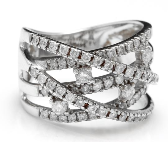 Other 1.00 Carats Natural Diamond 14K Solid White Gold Band Ring