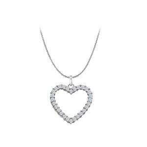 Marco B Sterling Silver Floating Heart Cubic Zirconia Pendant Necklace 0.75 CT