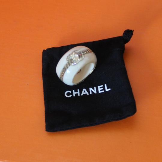 Chanel Gold-tone silver-tone Chanel crystal embellished CC ring