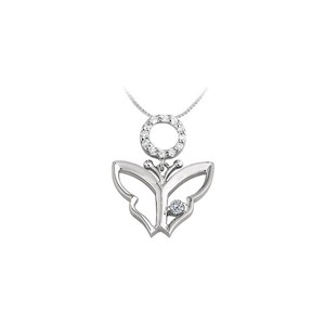Marco B Butterfly Pendant Necklace with Cubic Zirconia in Sterling Silver 0.15