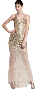 Basix Low Back Sequin Gold Evening Gown Dress