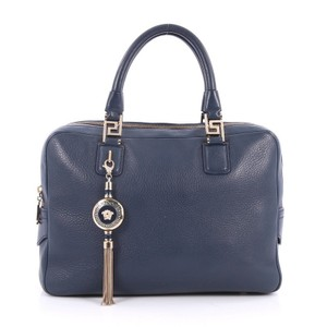 Versace Leather Satchel in Blue