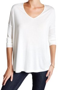 Haute Hippie Wide V Neck Super Quality Fabric Dolman Sleeves Dropped Shoulders Comfy Modal T Shirt Swan