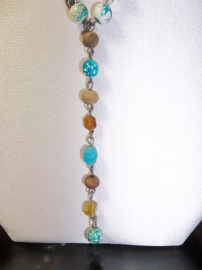 Handmade Handmade Necklace in Tan/Bronze/Jade/Turquoise in Beads of Round/Cylinder/Oval