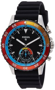 Fossil Fossil Q Men's Crewmaster Black Silicone Strap Smart Watch FTW1124