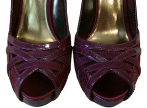 991d145477f7 Charles by Charles David Stiletto Open Toe Maroon Red Pumps