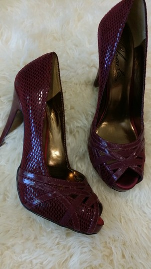 Charles by Charles David Stiletto Open Toe Maroon Red Pumps