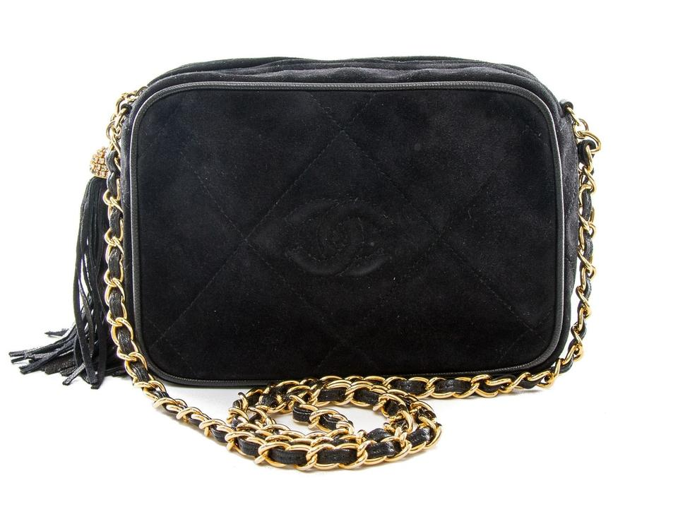 Chanel Quilted Gold-chain Fringe Suede Black Leather Shoulder Bag ... 1b31d84ed5f6b